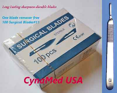 CYN BLADES #11 100 STERILIZED STAINLESS + Scalpel Handle #3   1 blade remover