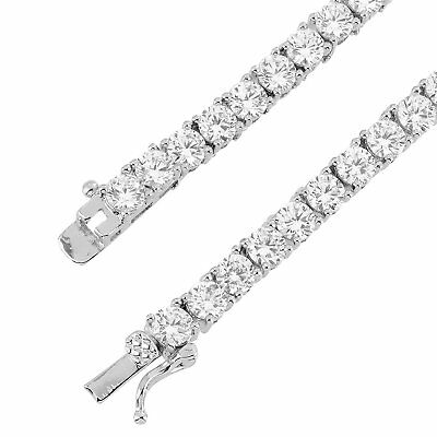 18K White Gold Finish Lab Created Diamond 1 Row Iced Out Tennis Bracelet 3MM–5MM