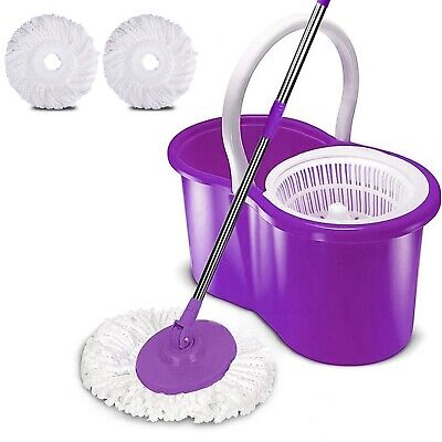 360 Degree Spinning Mop Bucket Home 2 Mop Cleaning Heads With Collapsible Bucket