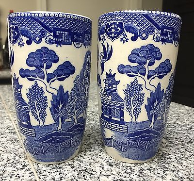 "PAIR of Vintage ~ Rare Blue Willow Large/Tall 5-1/4"" 12oz Tumblers Latte"