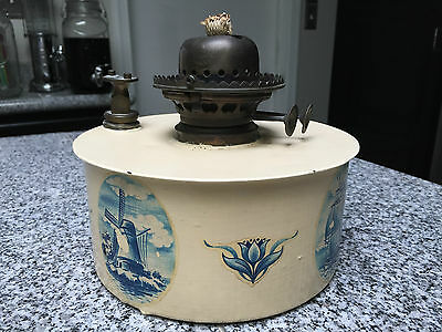Antique Miller Whale Oil Kerosene Lamp Dual Wick Hinged Lid One of a Kind