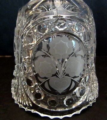 Vintage Heavy Lead Cut Crystal Dinner Bell with Hearts & Flowers Design, Mint