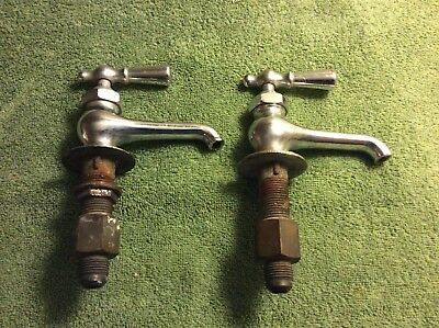 Antique Nickel Plated Brass  Faucets and Spigot hot and cold.