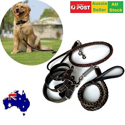 Durable Braided Woven Large Dog Leather Lead Leash and Collar Pet 120cm Handmade