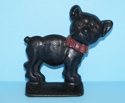 Antique Whimsical Dog W/ Bow-Tie & Glass Eyes Cast Iron Doorstop