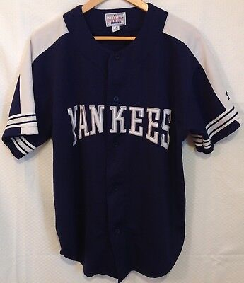 81a41fa63 Vintage New York Yankees Starter Navy Blue Plain Button Jersey Mens Size  Medium