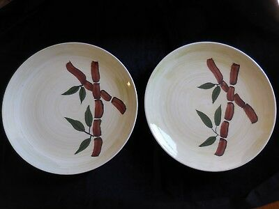 Blue Ridge Southern Potteries TROPICAL BAMBOO 2 Two DINNER PLATES Excellent Cond