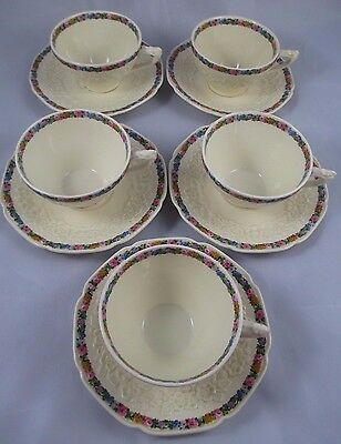 5 VTG Crown Ducal Gainsborough Shape CHARM Embossed Cups & Saucers RN 749657