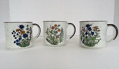 Pre-Owned Retro Floral Stoneware Coffee Mugs Japan Set of 3