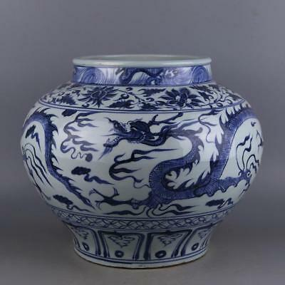 Huge Chinese Antique Blue and White Porcelain Jar &Dragon