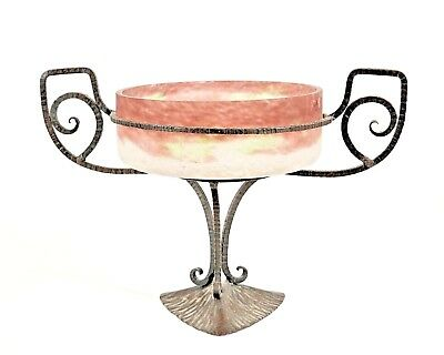 French Art Deco Compote with a Mauve, Green, Pink, and White Frosted Glass