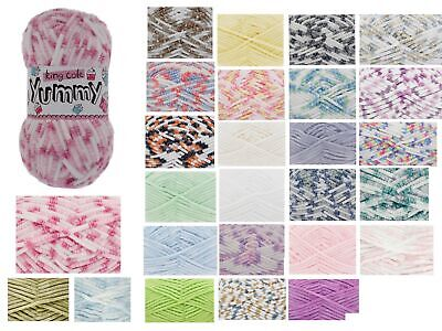 King Cole Yummy 100g Super Soft Knitting Yarn Chunky Baby Wool - All 19 Colours