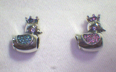Unbrand 925 Silver Crowned Baby Ducks ~2 Colors Blue & Baby Girl Pink Euro Charm