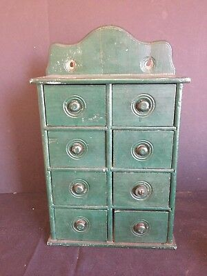 Antique Green Painted Wooden Kitchen Wall Hanging Spice Drawers