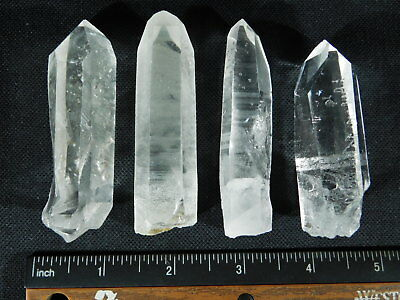 Lot of FOUR! Larger Nice and 100% Natural Quartz Crystals! From Brazil 207gr e
