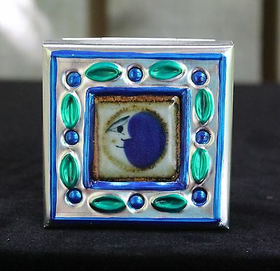 Sm Tin Box & Ceramic Tile of Moon Face by Tirso Cuevas, Mexican Folk Art Oaxaca