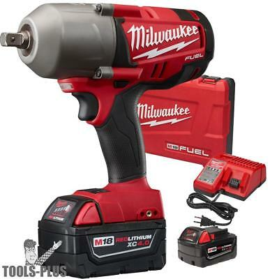 "Milwaukee 2762-22 M18 FUEL 1/2"" High Torque Impact Wrench Kit w/ Detent Pin New"