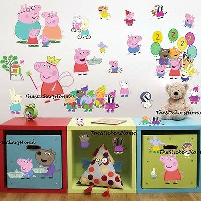 27x Peppa Pig George Family & Friends Wall Stickers Baby Children Bedroom Decor