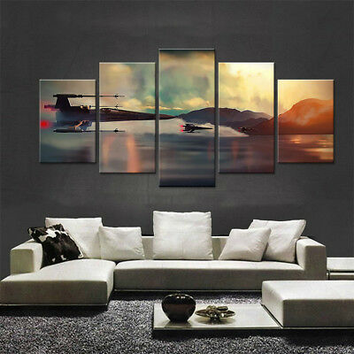 Framed 5 pc Star Wars X-Wings Canvas Wall Rogue one Art Deco print Fighter
