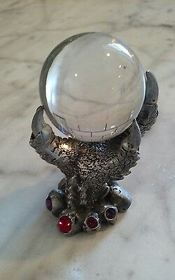 Pewter? Silver?  Dragon Claw Hand With Clear Crystal Ball 1992