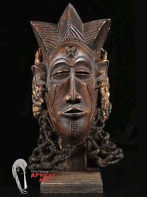 "Very Decorative Chokwe Mask 12"" on Custom Stand - Angola/ DR Congo"