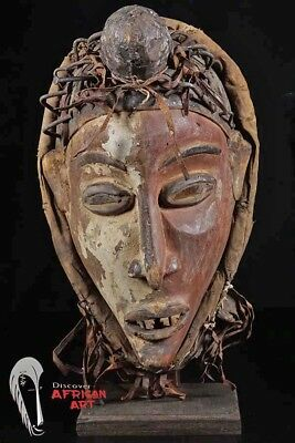 "Bakongo Mask 16"" on Custom Stand"
