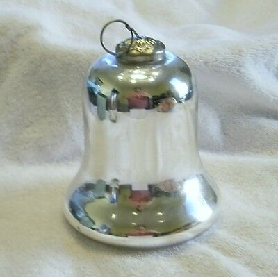 Vintage large Silver Mercury Glass Bell Ornament
