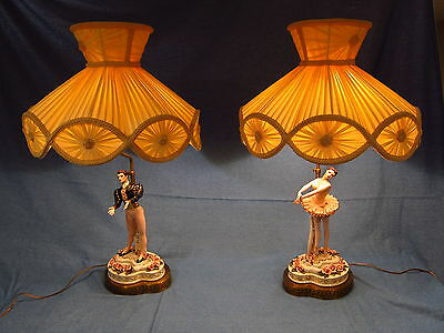 Pair of Antique Dresden Style Lace Ballerina Boudoir Lamps and Shades Italy?