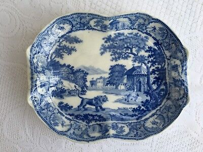 "Antique and Rare! c 1820s 'ANGRY LION"" Village Scene Transferware Plate/Dish 804"