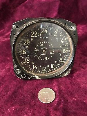 Vintage 24 Hour Dial, 8 Day Aircraft Avation Clock, Spares / Repair