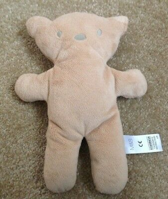 m s flat teddy bear plush soft toy light brown marks and spencer 10