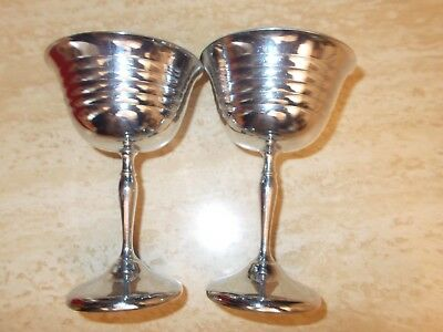 Two Small Stem Toasting Silver Metal Wine Glasses