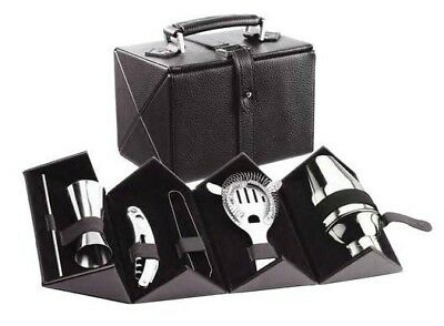 Wine Devices Stainless Steel Cocktail Bar Set 6 pc Hard Black Leatherette Case