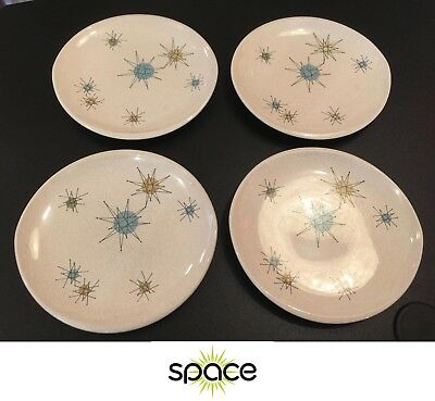 """Nice & Clean Lot Of 4 Vintage Franciscan Starburst 8"""" Luncheon Plates Atomic"""