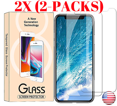 [2-Pack] Premium Tempered Glass Screen Protector for iPhone X / 8 / 7 / 6 wipe