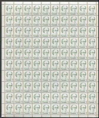 Canada #587ii 2c Green Laurier Caricature DF/NF Paper Type 3 Full Sheet VF-75 NH