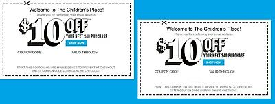 (2X) Children's Place $10 Off $40 Coupon >>>>>Super Fast Delivery!!!