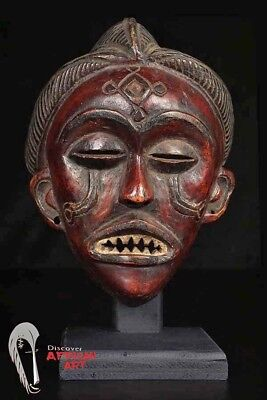 "Fine Chokwe Mask with Great Patina 10"" on Stand- Angola/DR Congo"
