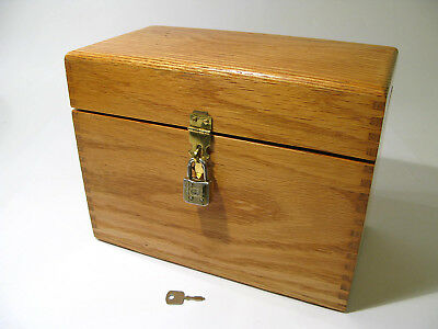 Large Antique Early 1900s Solid Oak Document Box with Lock