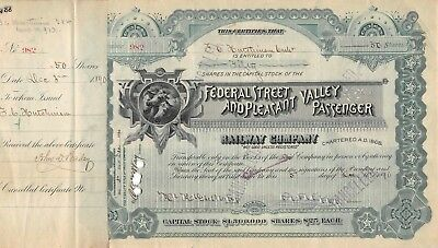Federal Street and Pleasant Valley Passenger Railway Company Certificate 1890