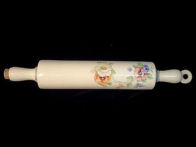 VINTAGE HALL HARKER WATER CERAMIC ROLLING PIN POTTERY CHINA FLORAL DESIGN 1940's