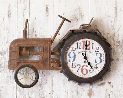 New Rustic Vintage Antique Style Primitive TRACTOR CLOCK Wall Hanging