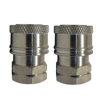"""Pressure Washer Spray Wand SS Coupler Fittings 1/4"""" FNPT 2 Piece Set NEW"""