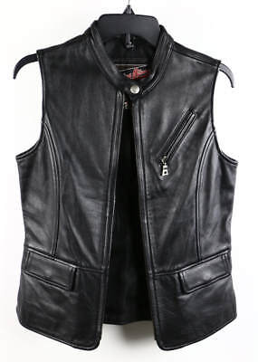 Flying Bikes Oakwood Black Leather Sleeveless Utility Motorhead Biker Vest
