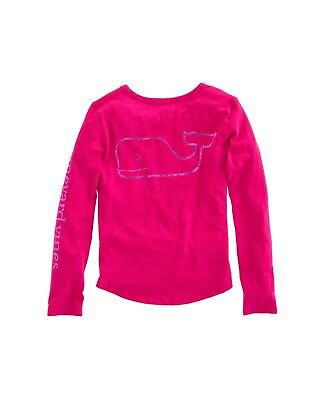 NWT Girls Vineyard Vines LS Whale Foil Raspberry T-Shirt Size Medium, Large, XL