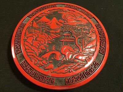 "Vintage Chinese Red Cinnabar 5 11/16"" Round Calligraphy Trinket Box"