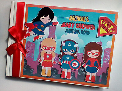 Personalised Super Girl First/1St Birthday Guest Book - Any Design