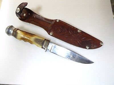John B. Rand Vintage German Bowie Knife Stag Handle Excellent Original Condition