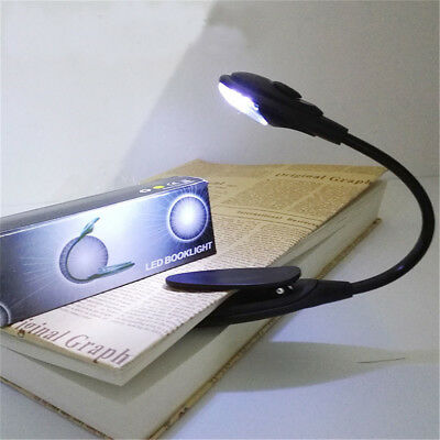 Portable Travel Flexible Neck LED Clamp Clip-On Reading Book Light Lamp GN