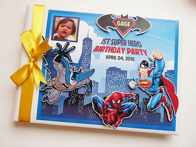 Personalised Super Hero Boys First/1St Birthday Guest Book - Any Design